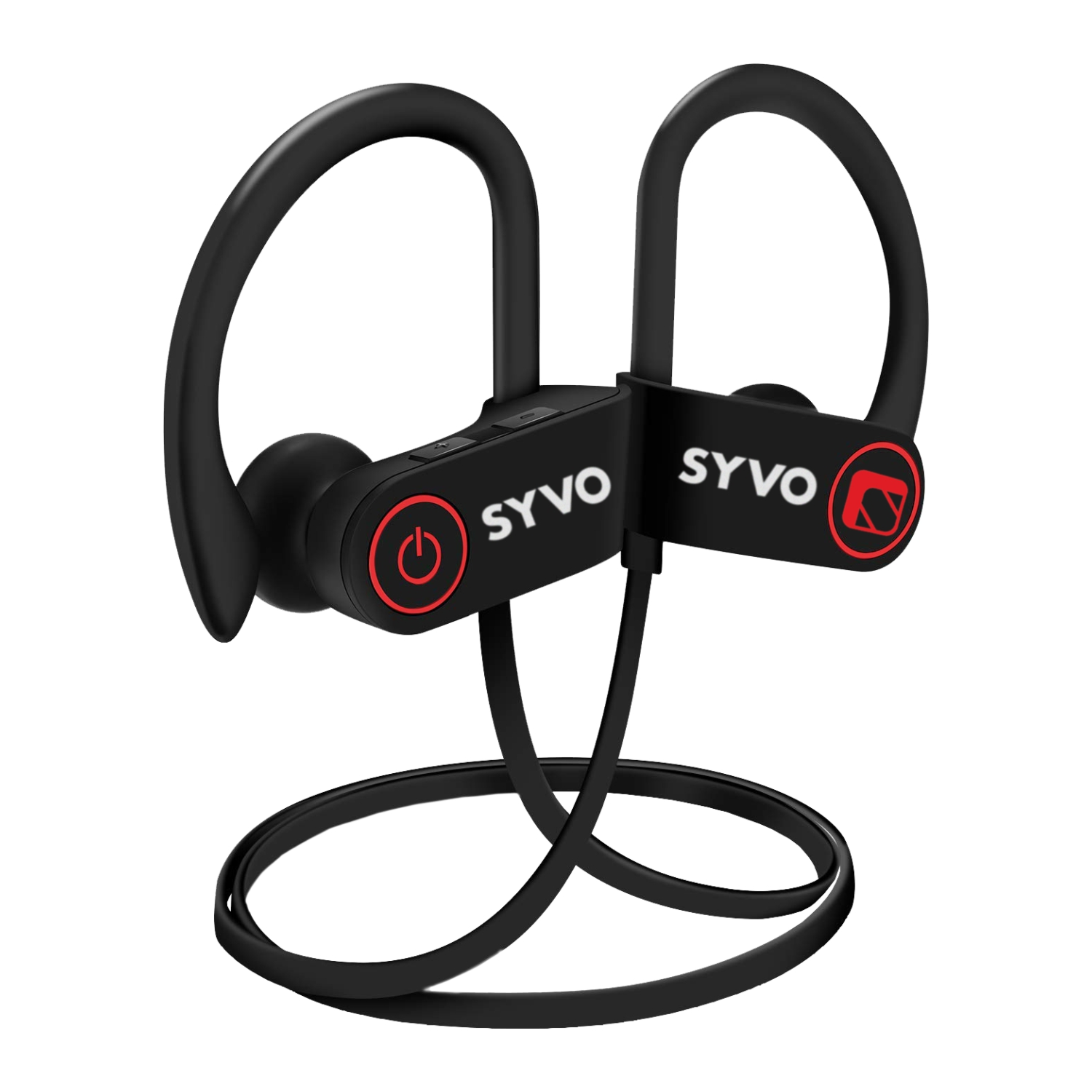 Syvo Flame IPX7 Wireless Bluetooth Waterproof Earphones with Mic + Carry Case (Black)